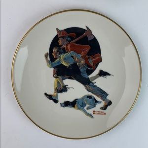 Norman Rockwell The Alarm Danbury collector plate